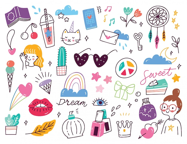 Set of   cute girly doodles