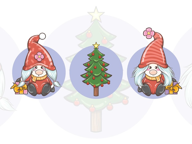 Set of cute gnome girl holding gift box and christmas tree - christmas illustration