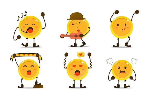 Set of cute gold coin in different poses