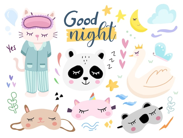 Set of cute good nigh eye mask cartoon illustration