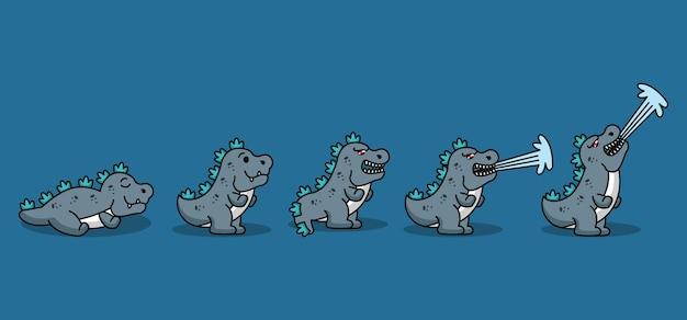 Set of cute gozilla monster
