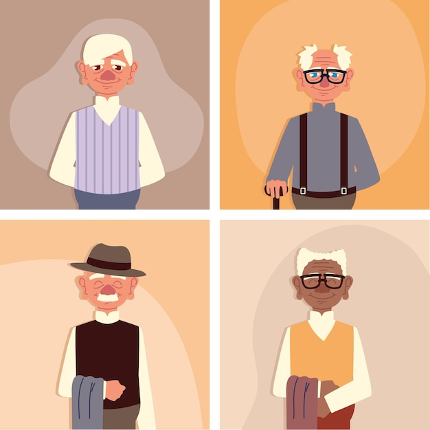 Set cute grandparents