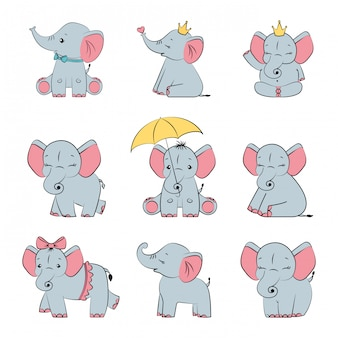 Set cute gray baby elephants