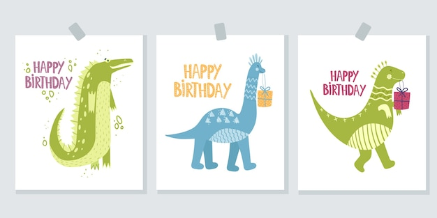 Set of cute greeting cards on a white background. happy birthday.