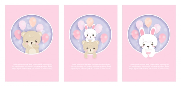 Set of cute greeting cards with rabbits and teddy bears in paper cut and craft style.