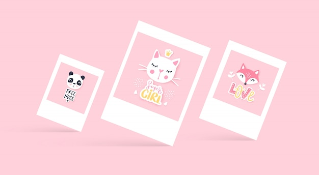 Set of cute greeting cards.