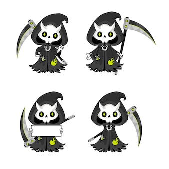 Set of cute grim reaper with scythe