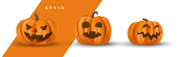Set of cute halloween carved pumpkin face decorative isolated