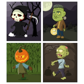 Set of cute halloween characters with halloween theme background  illustration