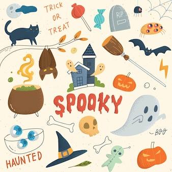 Set of cute halloween doodle