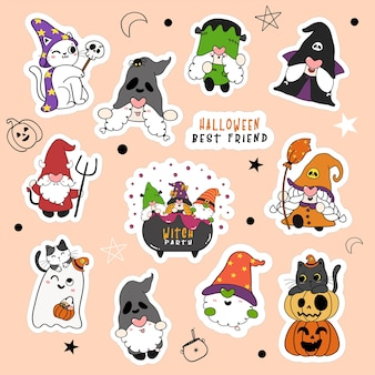 Set of cute halloween gnome and cat in fancy costume party cartoon sticker collection.