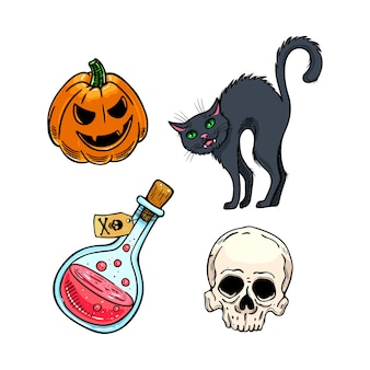 Set of cute halloween icons.