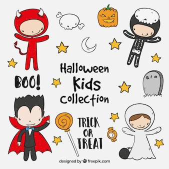 Set of cute halloween kids