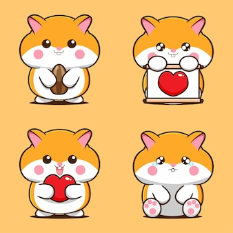 Set of cute hamster designs