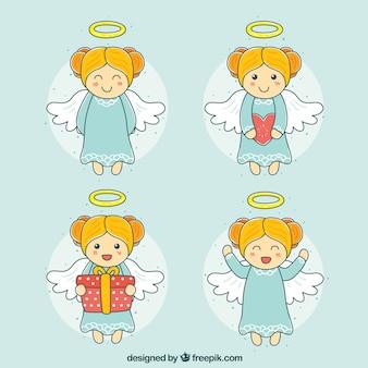 Set di angeli carini disegnati a mano