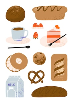 Set of cute hand drawn bread products, cake and coffee shop elements, cafe bakery and pastry cartoon art illustration