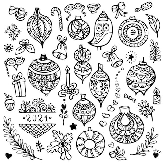 Set of cute hand-drawn christmas balls ornaments and others christmas elements isolated on white background.