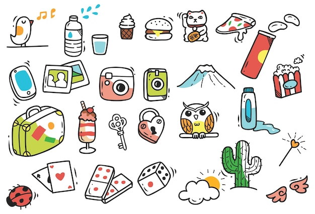Set of cute hand drawn doodle Premium Vector