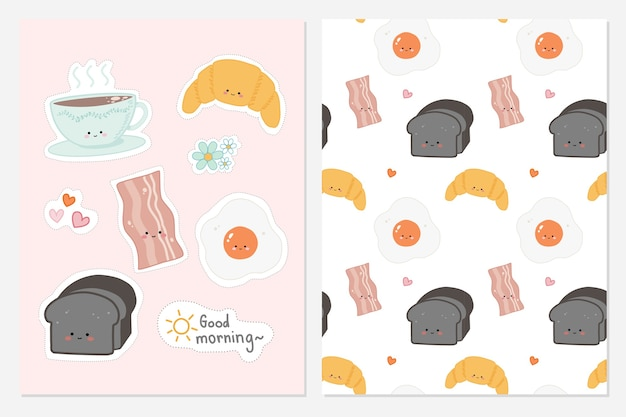 Set of cute hand drawn food for breakfast with seamless pattern background .
