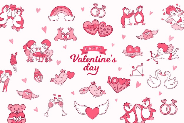 Set of cute hand drawn icons about love isolated on white background