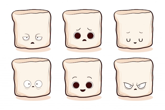 Set of cute hand drawn marshmallow