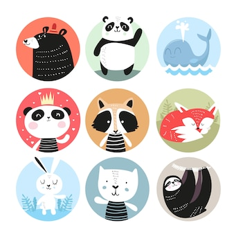Set of cute hand drawn smiling animals characters.