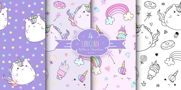 Set of cute hand drawn unicorn seamless pattern