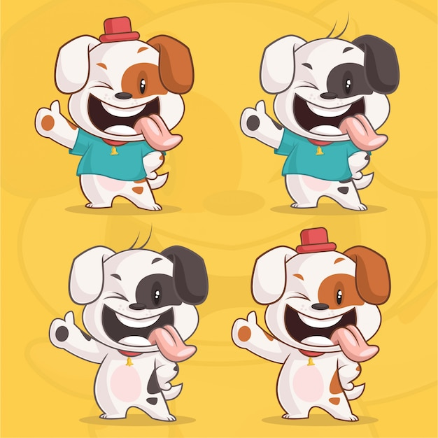 Set of cute happy dog character