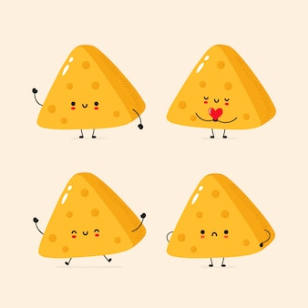Set of cute happy and sad cheese