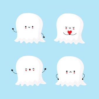 Set of cute happy and sad ghost