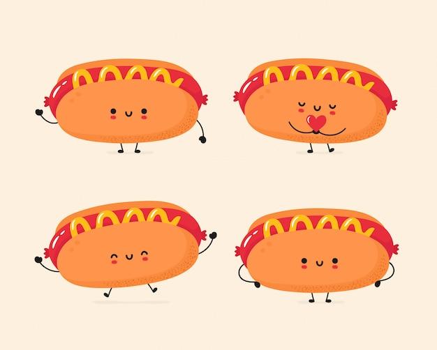 Set of cute happy and sad hot dog
