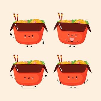 Set of cute happy and sad wok