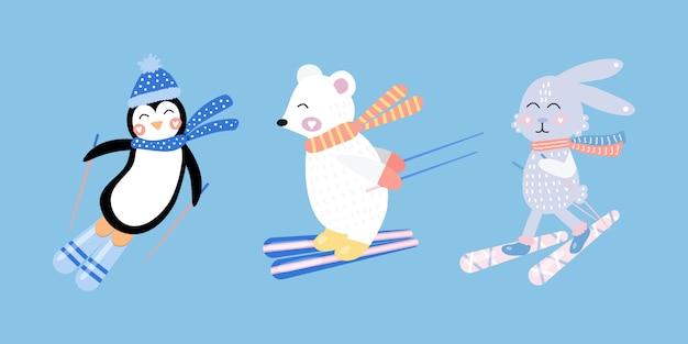스키에 귀여운 토끼, 백곰, 펭귄을 설정하십시오. 손으로 그린.