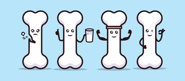 Set of cute healthy bone organ mascot design