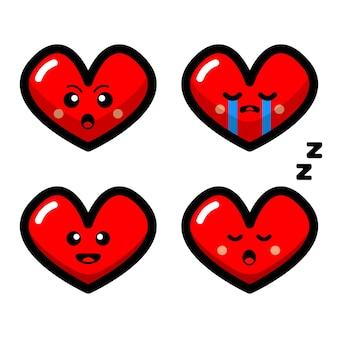 Set of cute heart love vector cartoon illustration