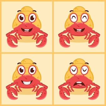 Set of cute hermit crab cartoon vector illustration icon design concept