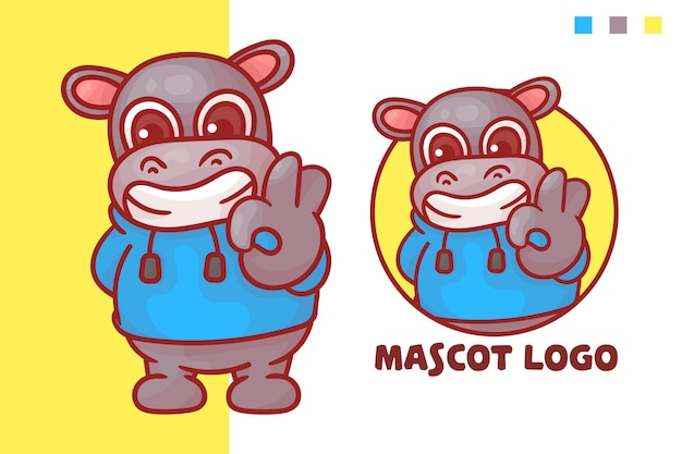 Set of cute hippo mascot logo with optional appearance.
