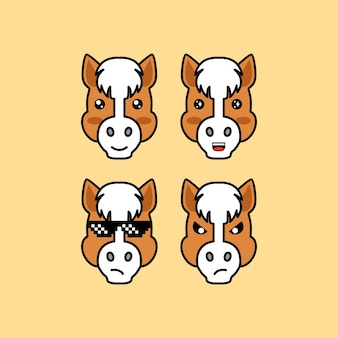 Set cute horse cartoon head character with different expression vector illustration