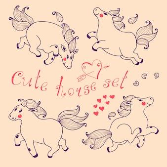 Set of cute horse in cartoon style