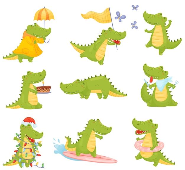 Set of cute humanized crocodiles eats