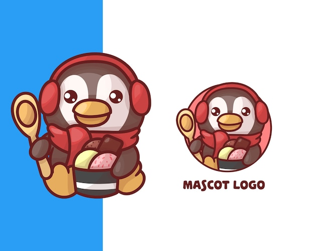 Set of cute ice cream penguin mascot logo with optional appearance. kawaii