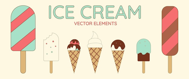 Set of cute ice cream in retro style. vector embroidery patch fabric, vector illustration. design element.