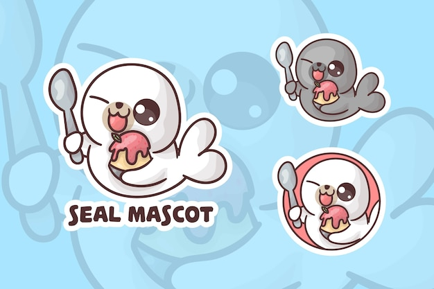Set of cute ice cream seal mascot logo with optional appearance.