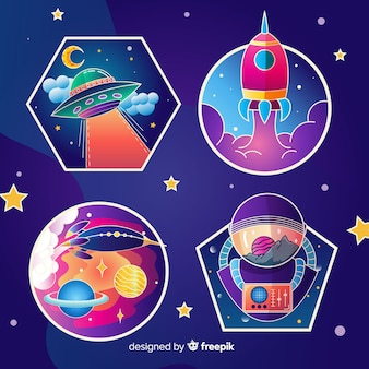 Set of cute illustrated space stickers