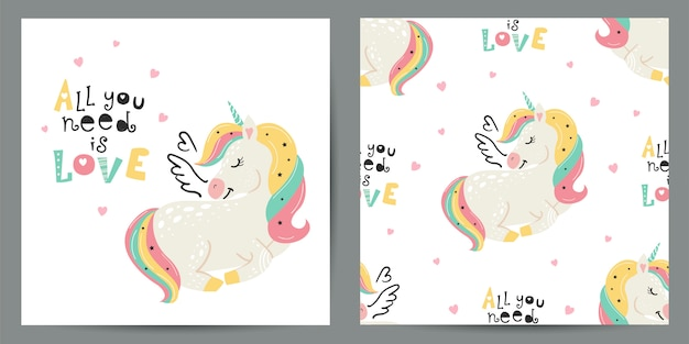Set of cute illustration and seamless pattern with unicorns