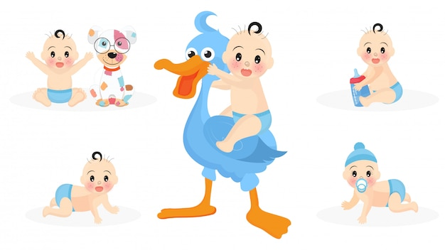 Set of cute infant boy characters with stork