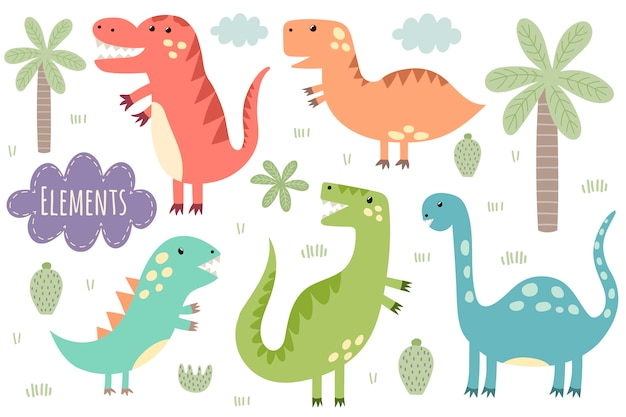 Set of cute isolated dinosaurs. dinos, palm, cactus, cloud, plants.