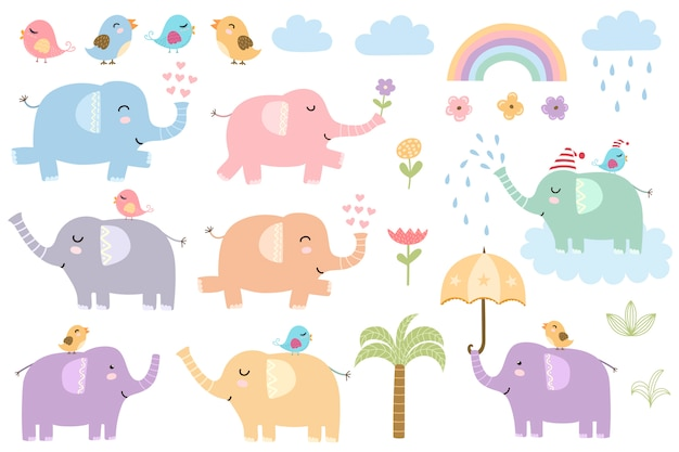 Set of cute isolated elephants