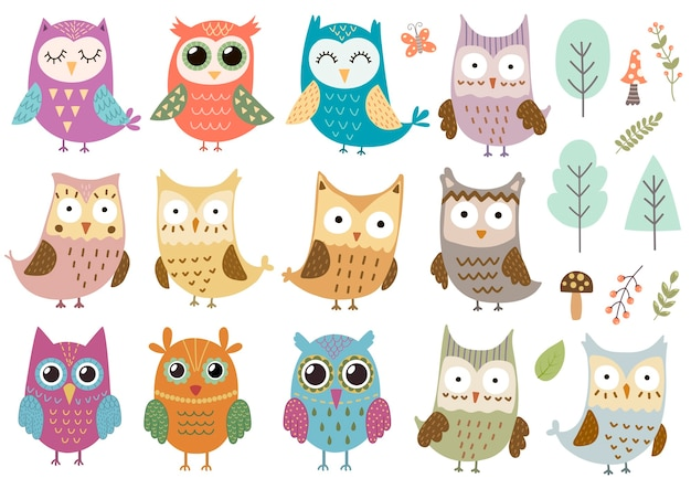 Set of cute isolated owls, trees, mushrooms and plants