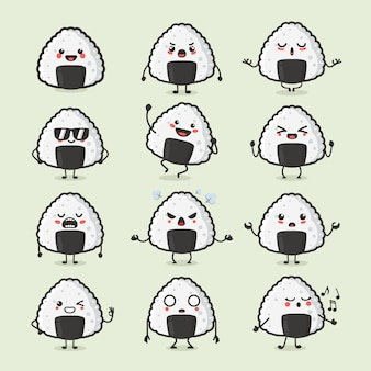 Set of cute japanese food onigiri character in different action emotion